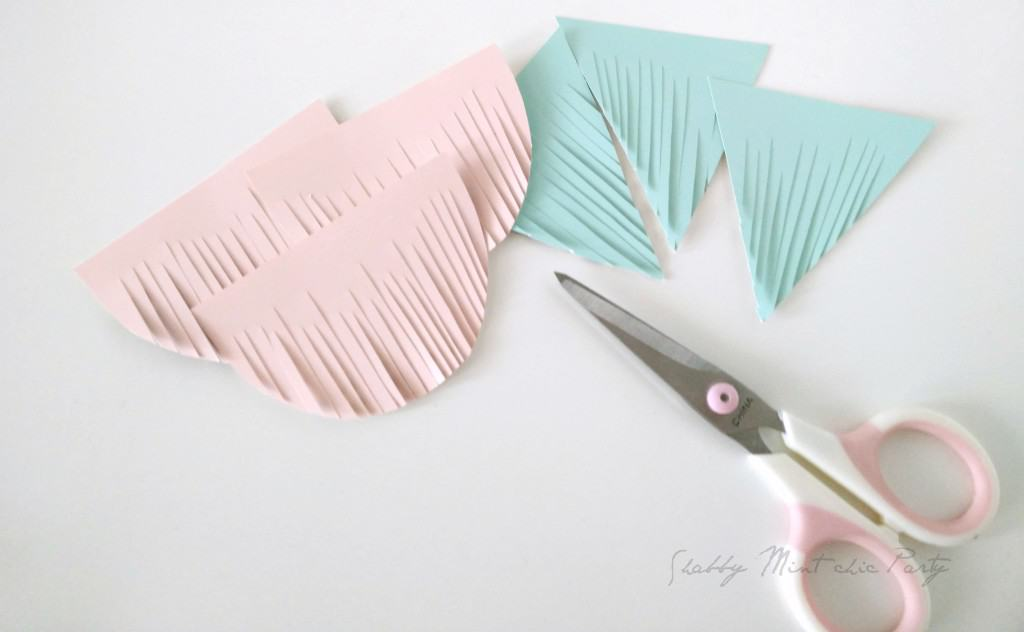 How to make buntings from free paint swatch samples from your paint or home improvement stores.shabbymintchicparty.com