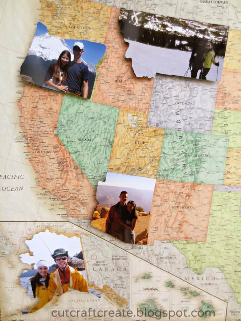 Use photos to create States you've traveled to for engagement or wedding party.
