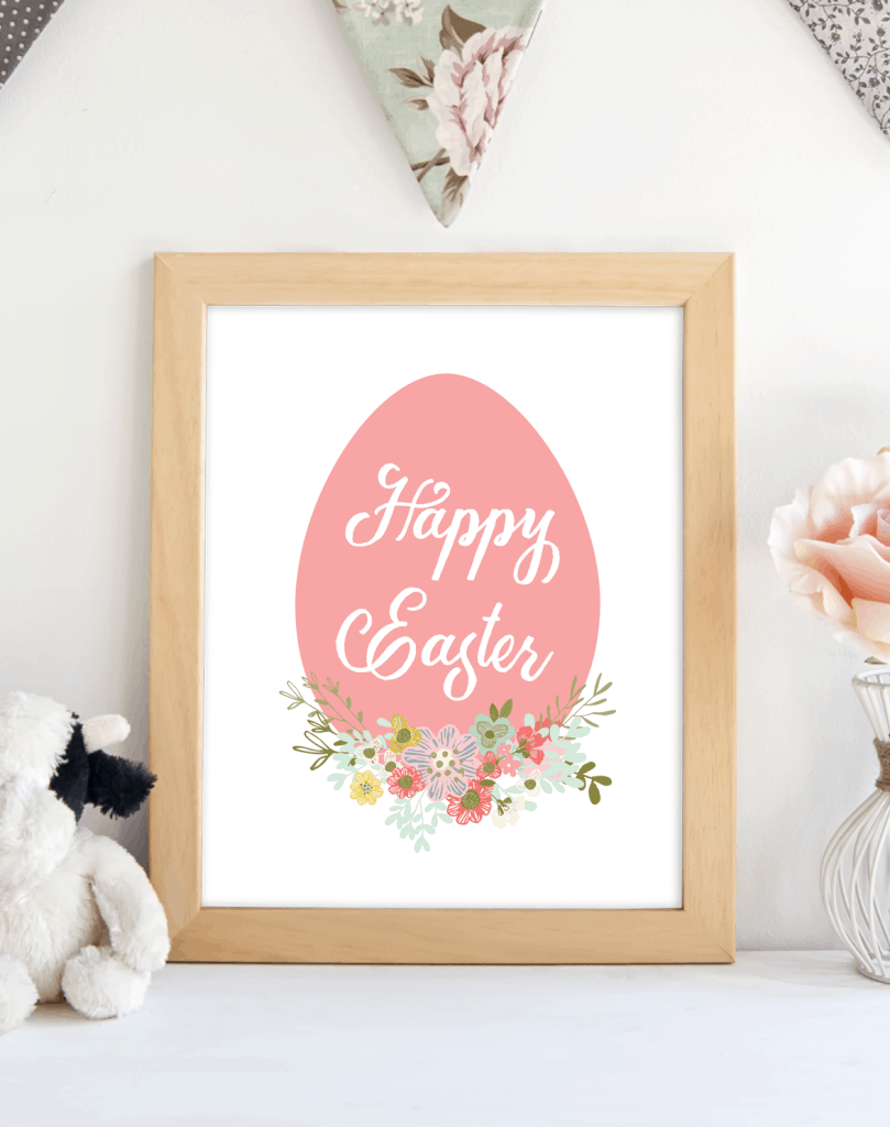 Happy Easter Egg Pink printable. shabbymintchicparty.com