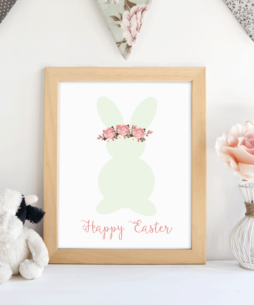 Easter bunny with floral headband printable. shabbymintchicparty.com