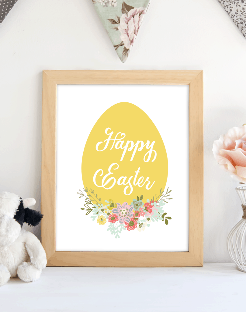 Happy Easter Yellow Egg printable. shabbymintchicparty.com