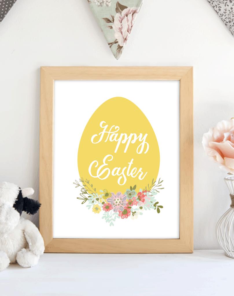Happy Easter Yellow Egg printable. shabbymintchicparty.com