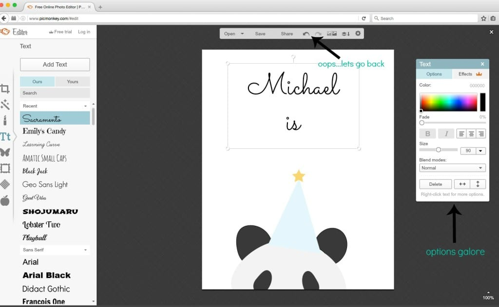 Picmonkey tutorial using font options