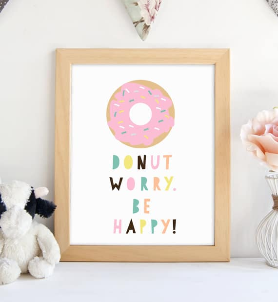 donut worry printable