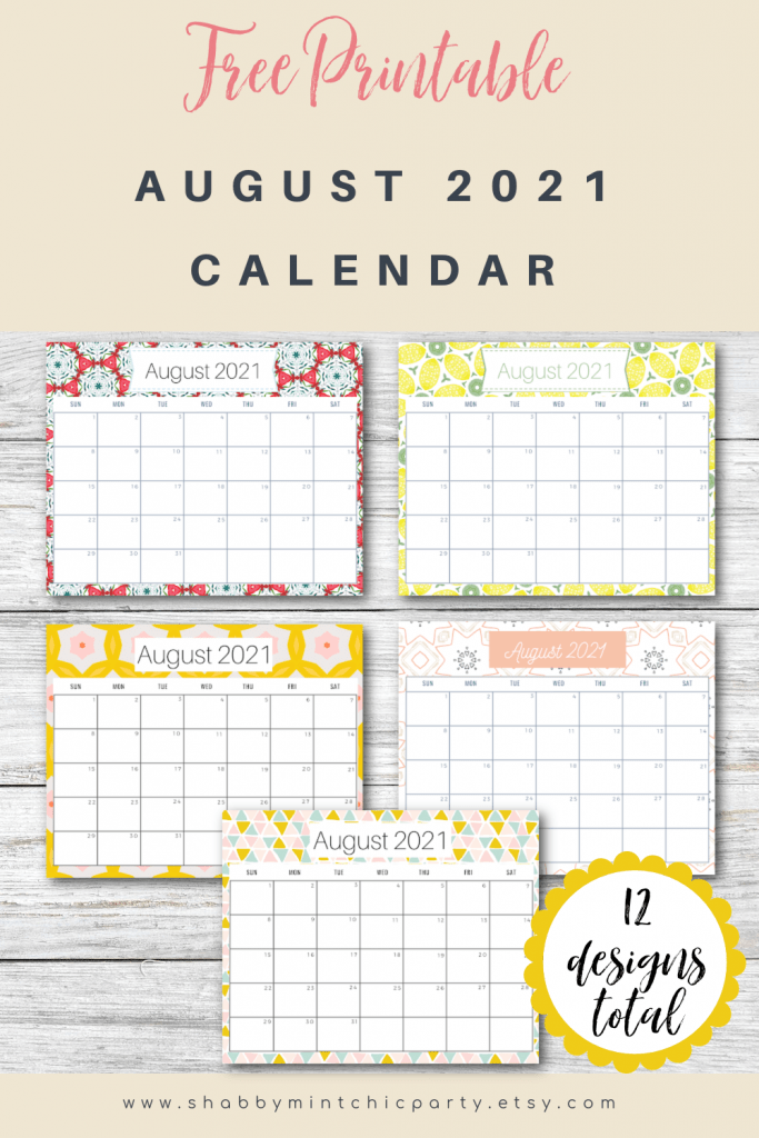 august 2021 free calendar printable
