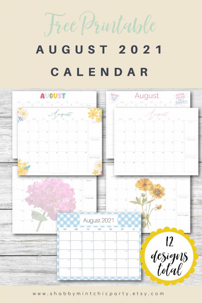 Freebie printable calendar august 2021