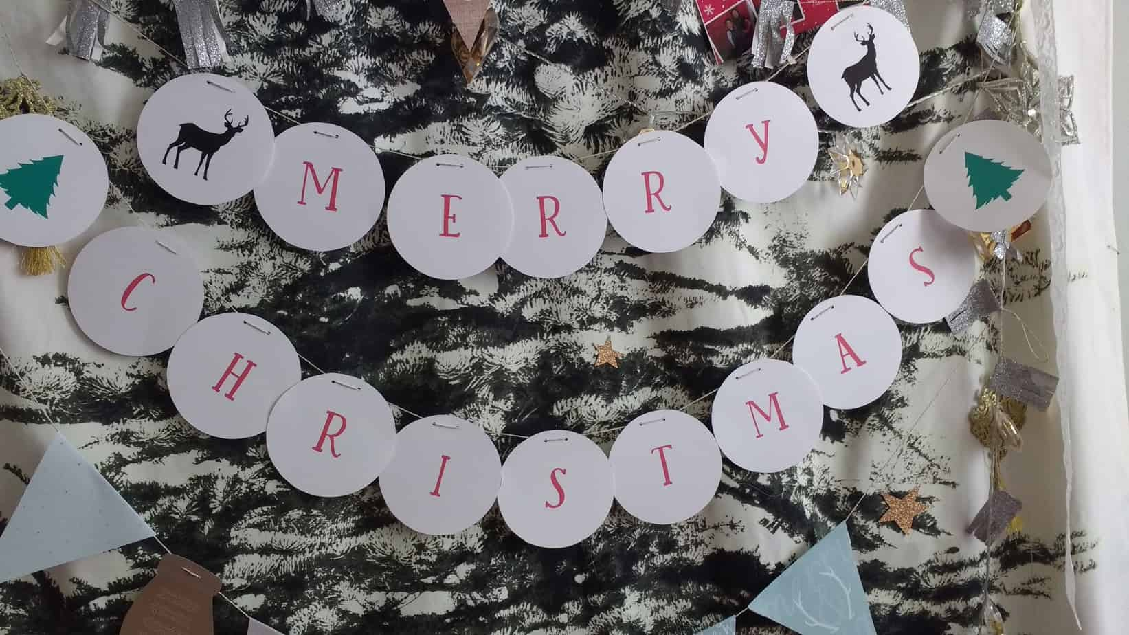 Merry Christmas banner. Shabby mint chic party