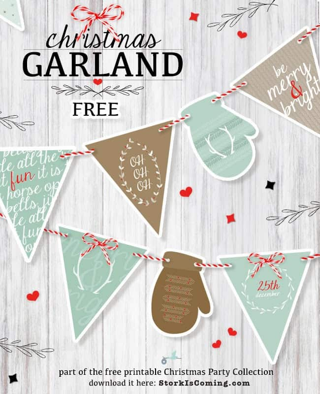 Christmas garland printable. Shabbymintchicparty.com