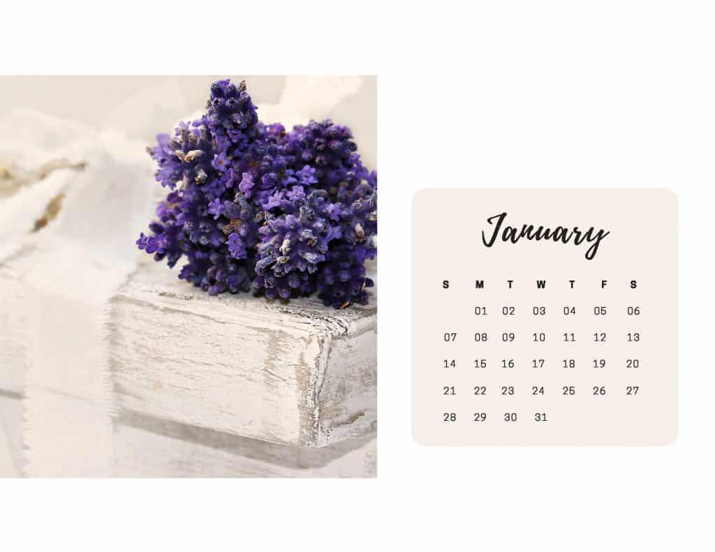 Shabby Chic Floral Calendar Jan