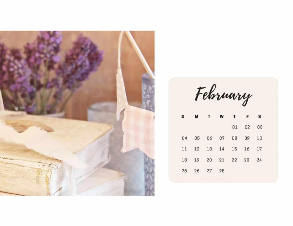 Shabby Chic Floral Calendar feb 2018