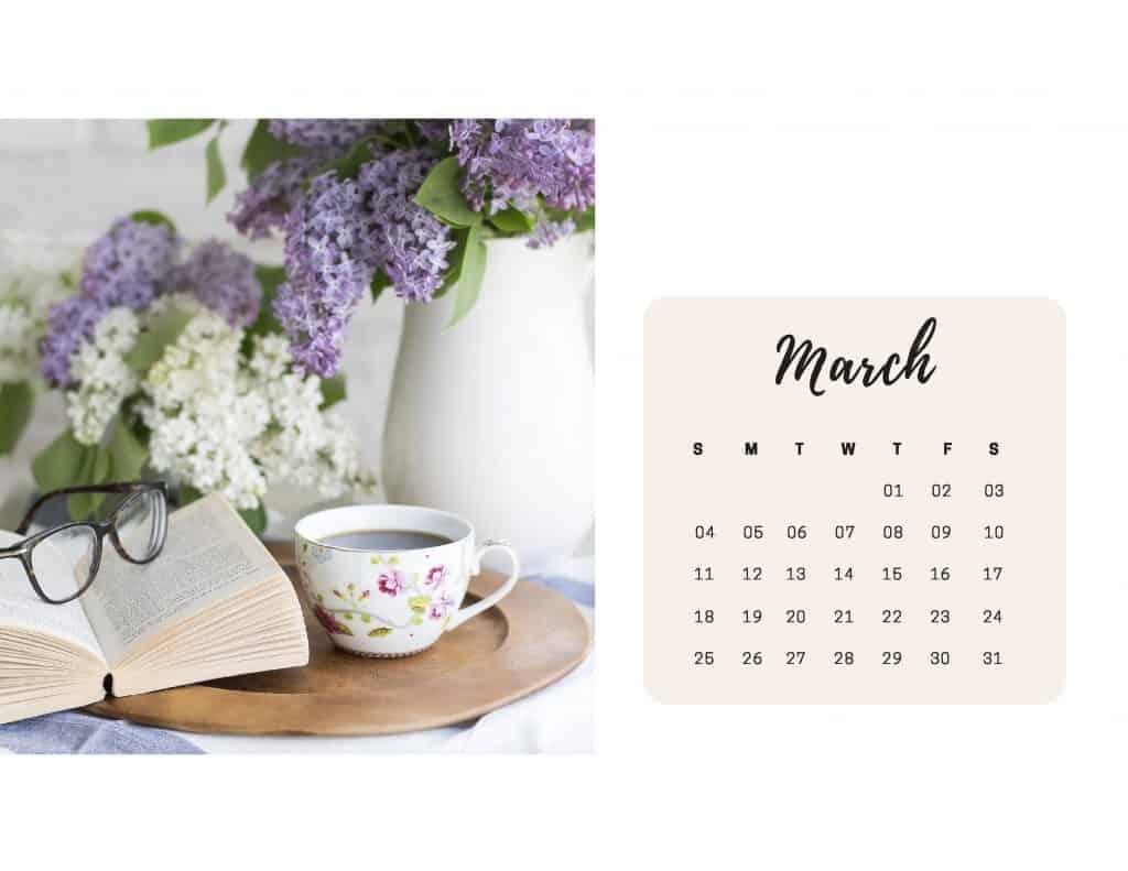 Shabby Chic Floral Calendar Mar 2018