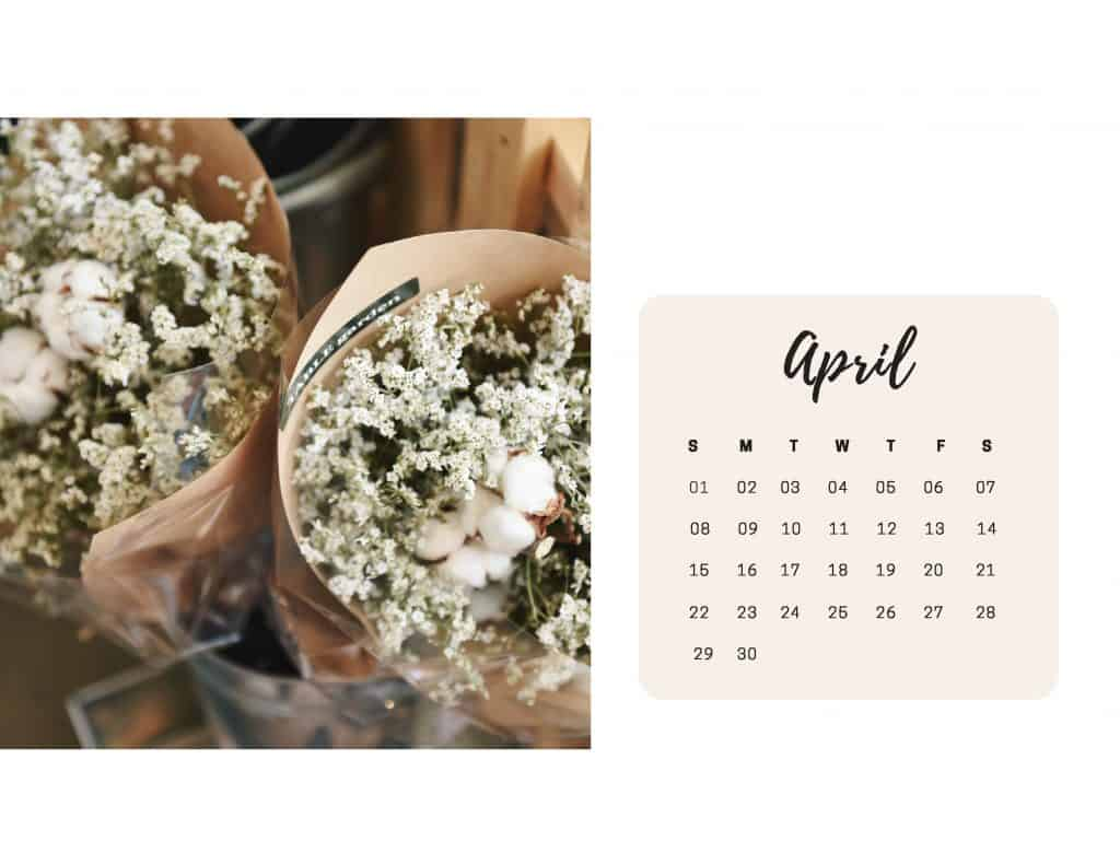 Shabby Chic Floral Calendar April
