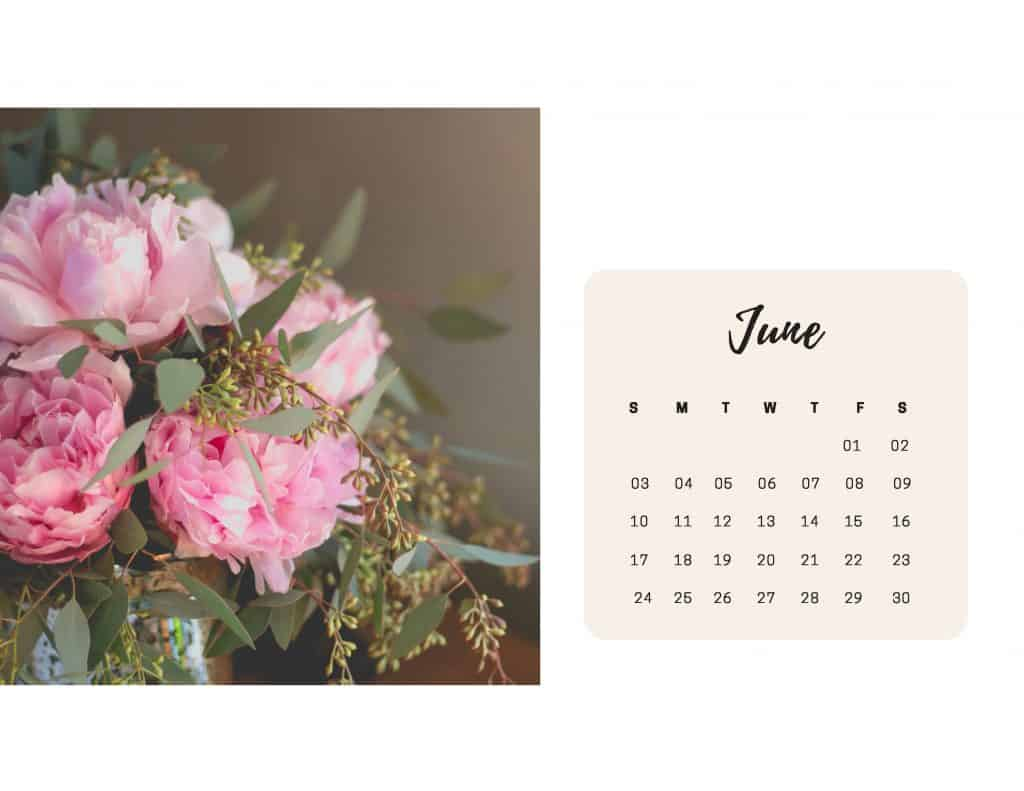 Shabby Chic Floral Calendar June