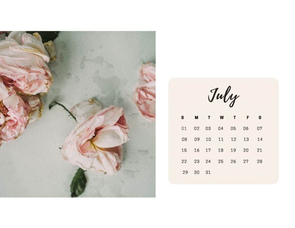 Shabby Chic Floral Calendar July