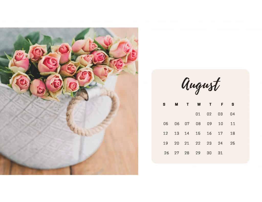 Shabby Chic Floral Calendar Aug 2018