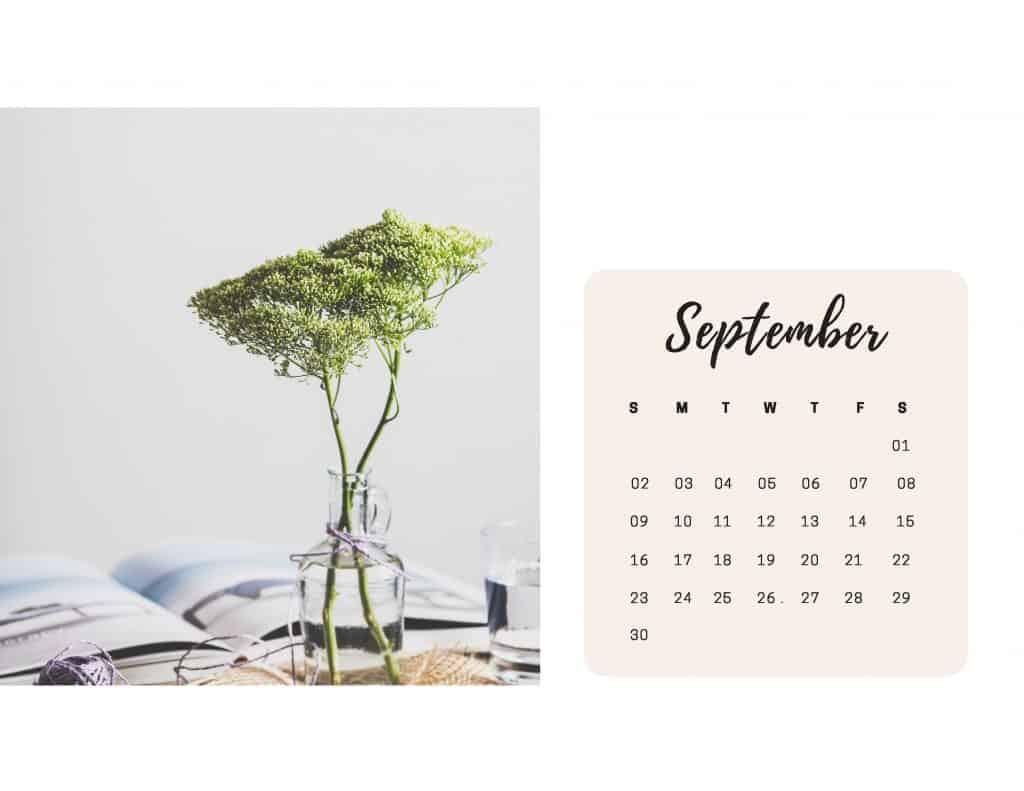 Shabby Chic Floral Calendar Sept
