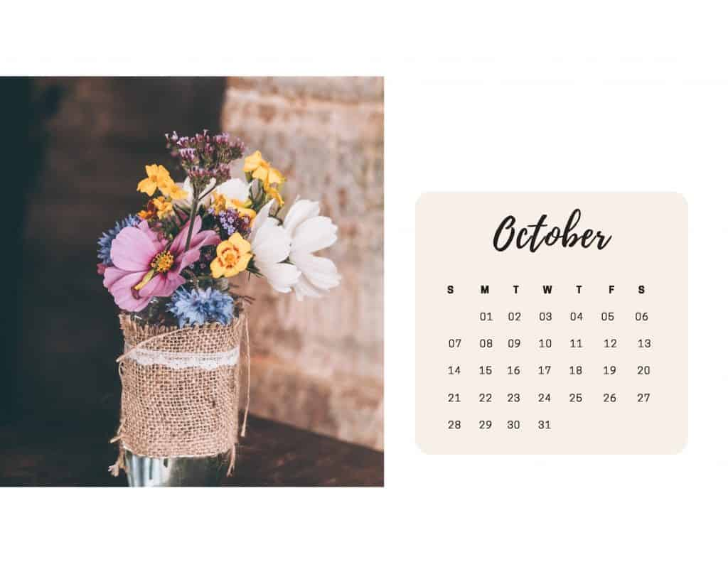 Shabby Chic Floral Calendar Oct