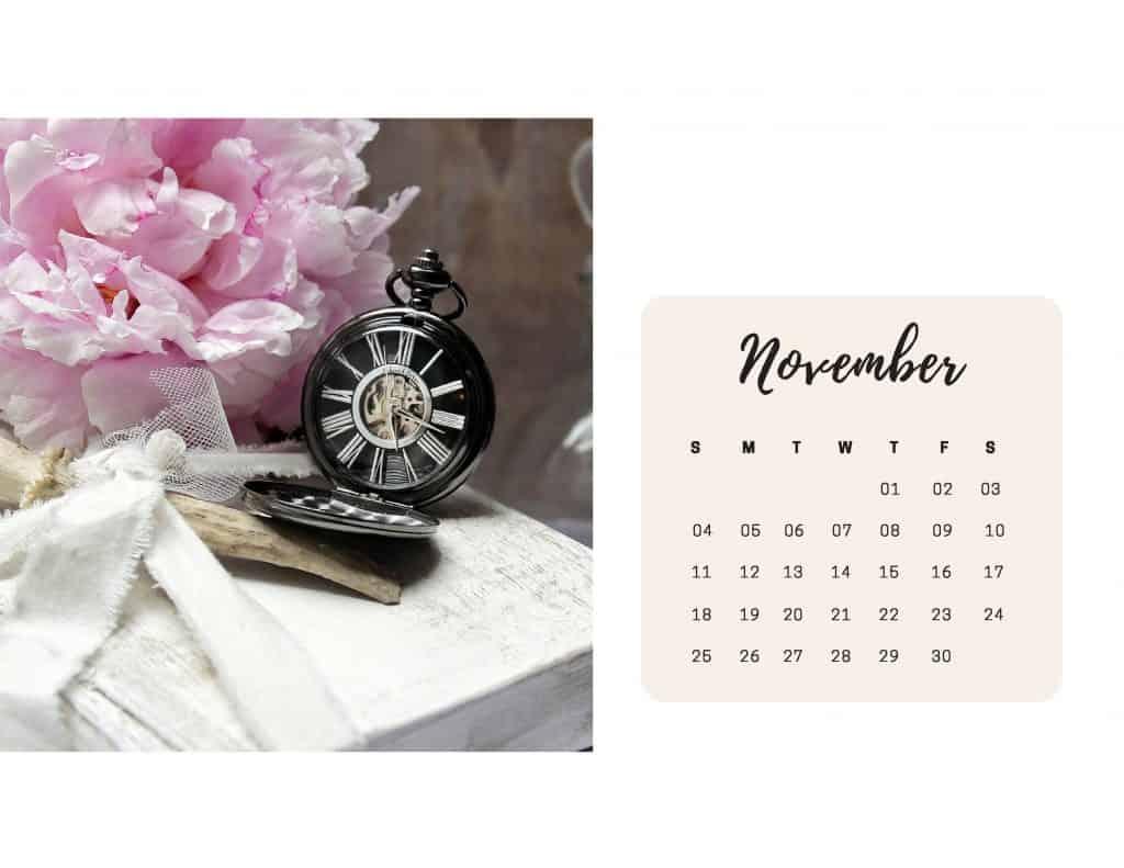 Shabby Chic Floral Calendar Nov
