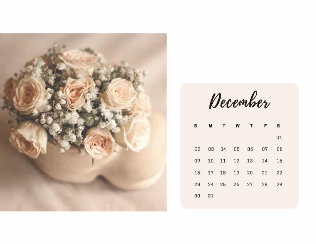 Shabby Chic Floral Calendar Dec