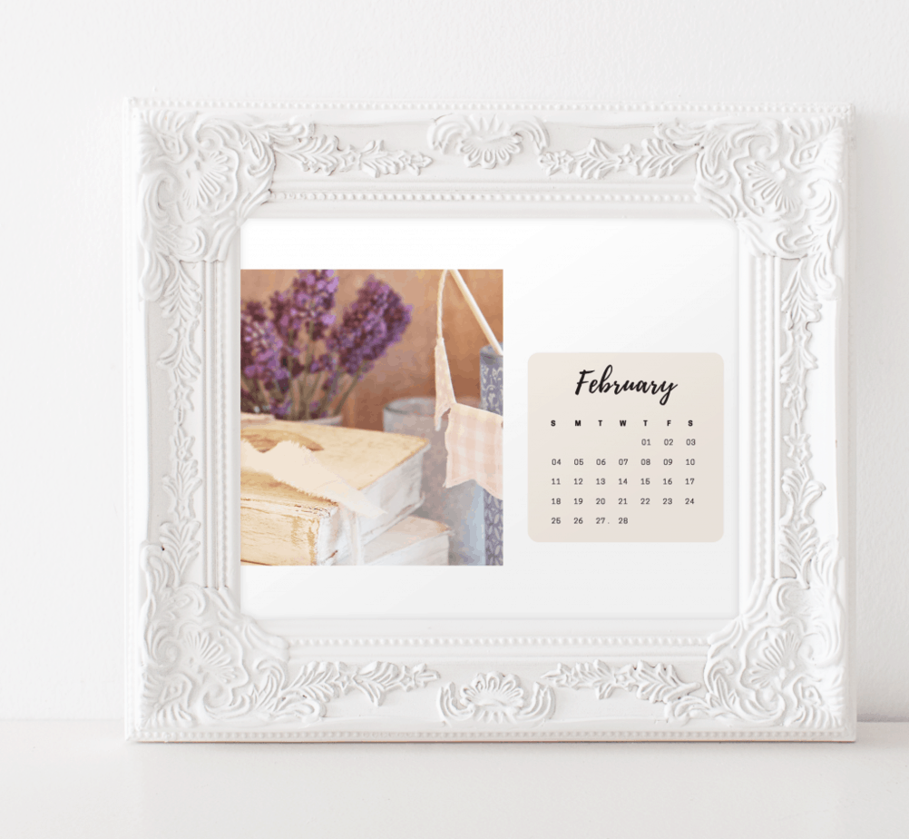 shabby chic floral calendar feb frame