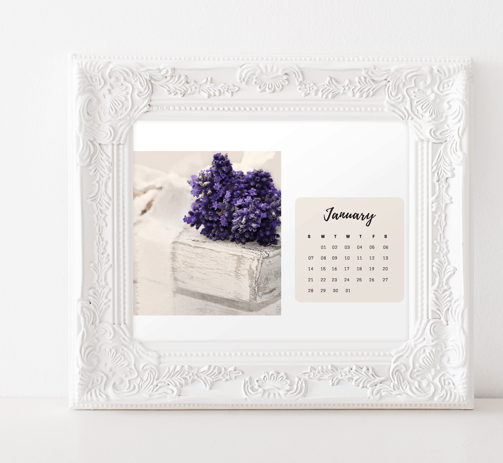 Free 2018 Shabby Chic Floral Calendar