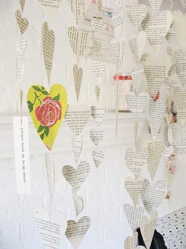 Valentine's Day old book garland