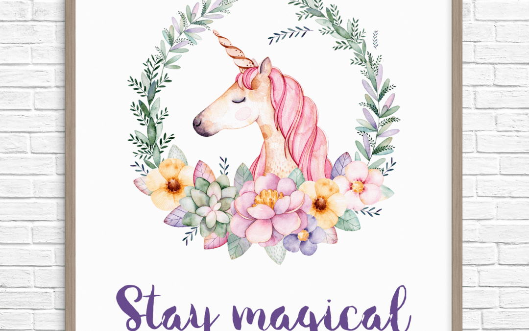 purple unicorn wall art printable