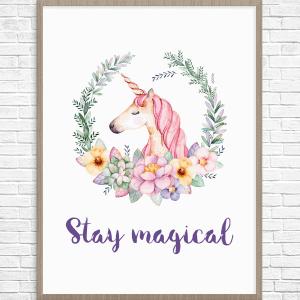 purple unicorn wall art printable