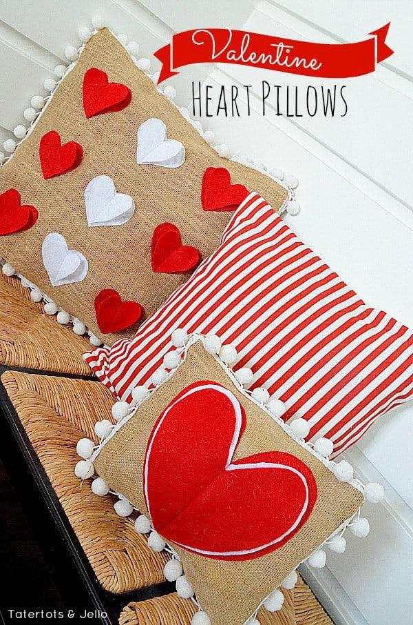 Valentine's Day pom pom pillows