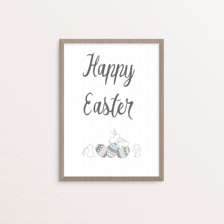 Easter printable bunny and eggs