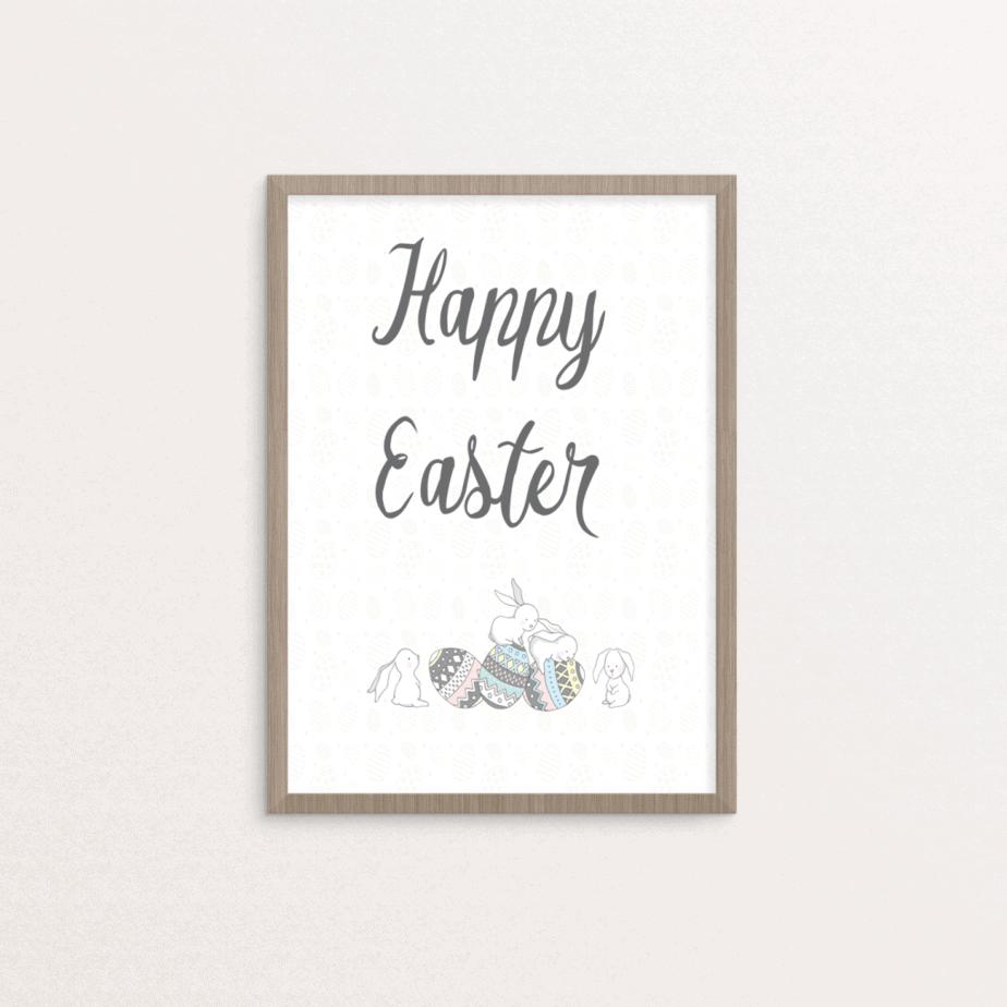 Easter printable bunny and eggs