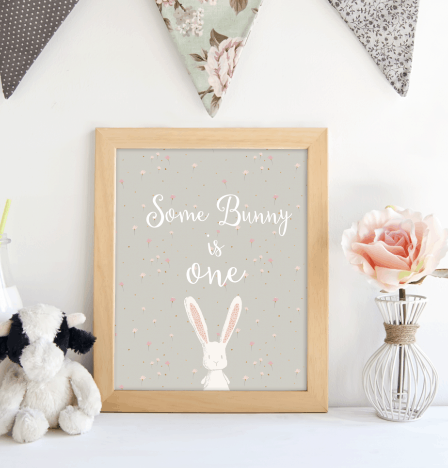 bunny printable one birthday