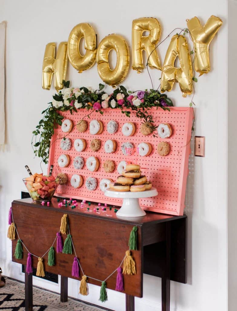 donut theme party wall display