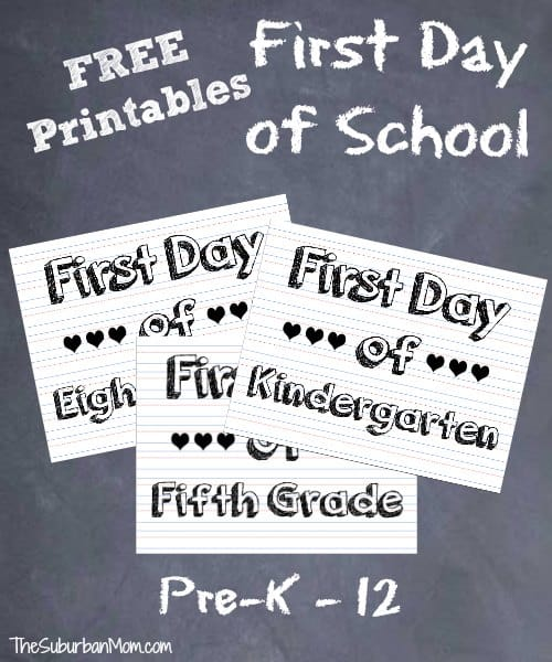 Free First Day Of School Sign Printables Shabby Mint Chic Party