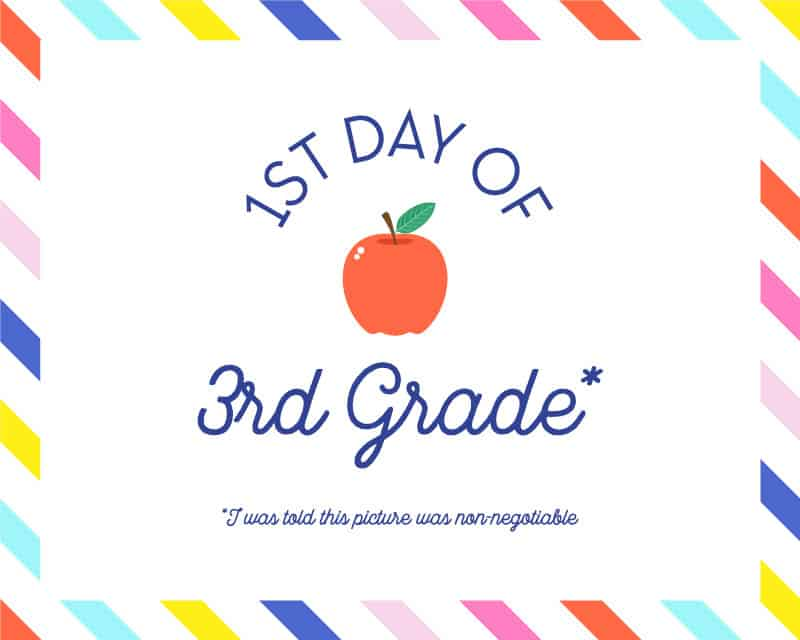 photo relating to First Day of 3rd Grade Sign Printable referred to as initially-working day-of-higher education-indicators-Cost-free-printable-3rd-quality - Shabby