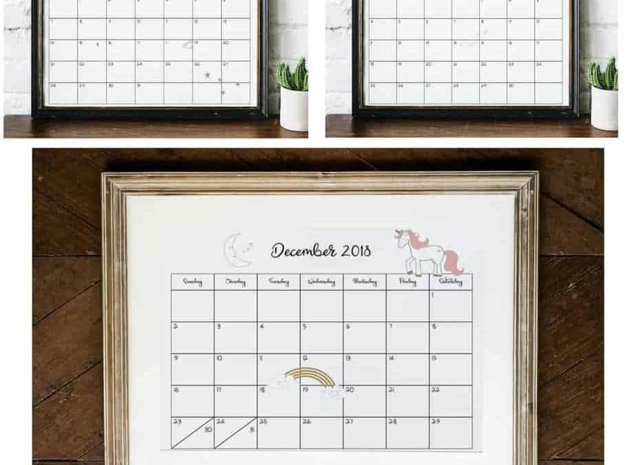 2018-2019 Unicorn Calendar Printable