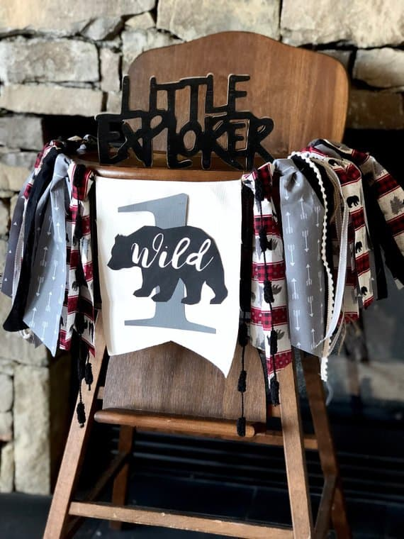 First Birthday high chair banner wild bear by Birthday Boutique GVL