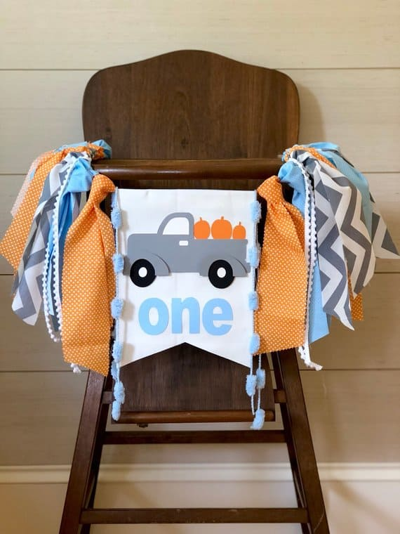 First Birthday high chair banner Pumpkin Truck by BirthdayBoutiqueGVL