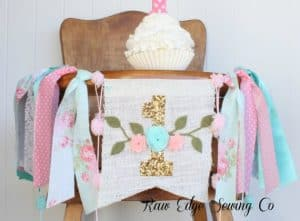 First Birthday High Chair Banner Boho by Raw Edge Sewing Co