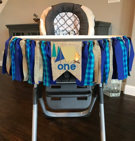 First Birthday High Chair Banner Camping by Chairs Gone Wild Tx