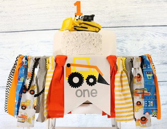 First Birthday High Chair Banner Construction Vehicle by Rich at Heart Baby