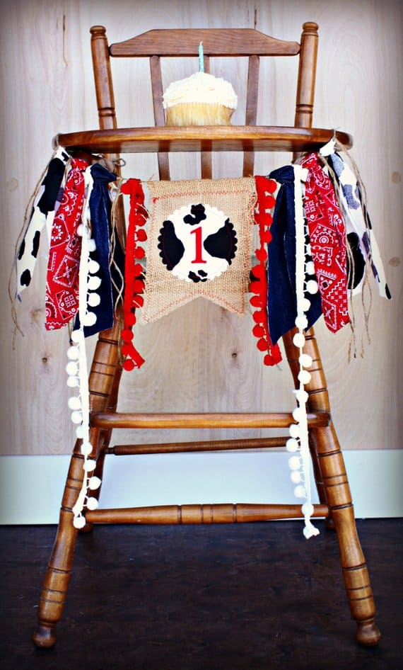 First Birthday High Chair Banner Cowboy by Raw Edge Sewing Co