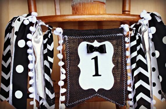 First Birthday High Chair Banner Little Man by Raw Edge Sewing Co