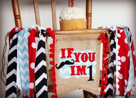 First Birthday High Chair Banner Mustache by Raw Edge Sewing co