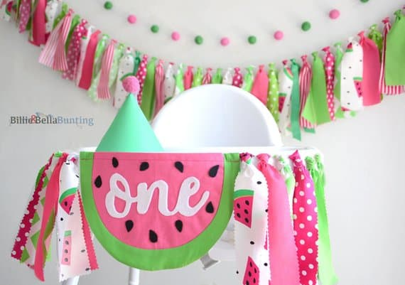 First Birthday High Chair Banner Watermelon by Billie and Bella Bunting