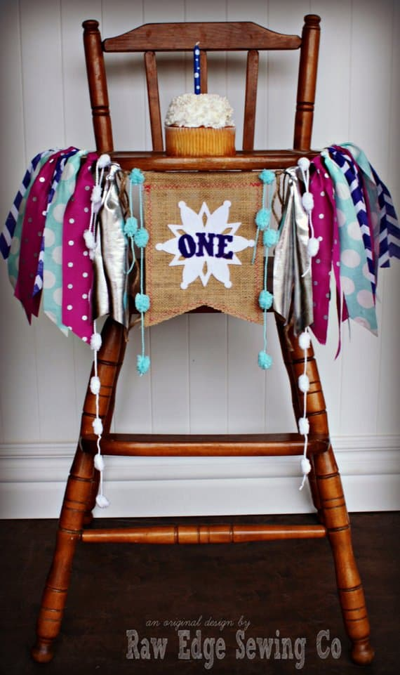 First Birthday High Chair Banner Winter by Raw Edge Sewing Co