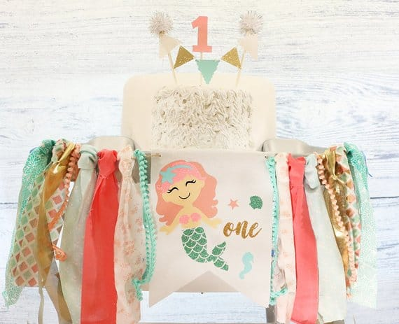 First Birthday High Chair Banner by Rich At Heart Baby