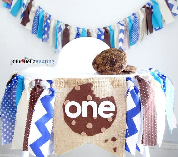 First Birthday High Chair Banner cookie by Billie and Bella Bunting