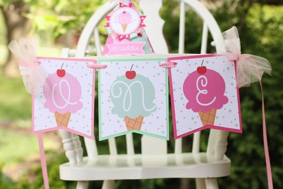 First Birthday High Chair Banner ice cream by Pink Apple Parties