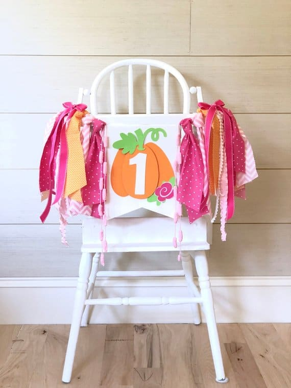 First Birthday High Chair Banner pumpkin pink by Birthday Boutique GVL